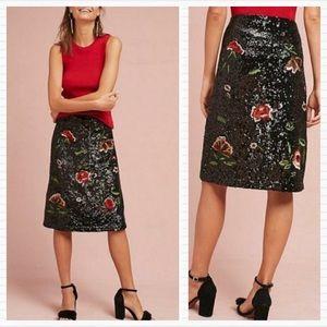 ANTHROPOLOGIE MAEVE Garden Glitz Sequin Skirt 12